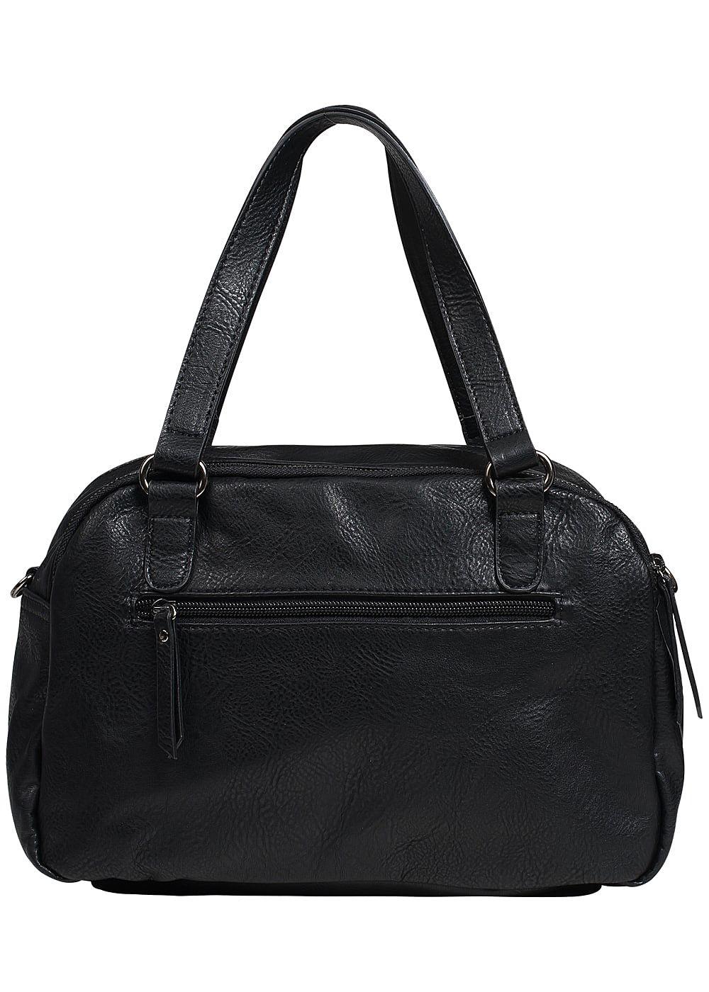 zabaione damen kunstleder handtasche 2 zip taschen schwarz silber 77onlineshop. Black Bedroom Furniture Sets. Home Design Ideas