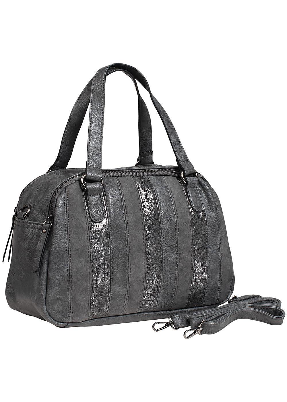 zabaione damen kunstleder handtasche 2 zip taschen grau. Black Bedroom Furniture Sets. Home Design Ideas