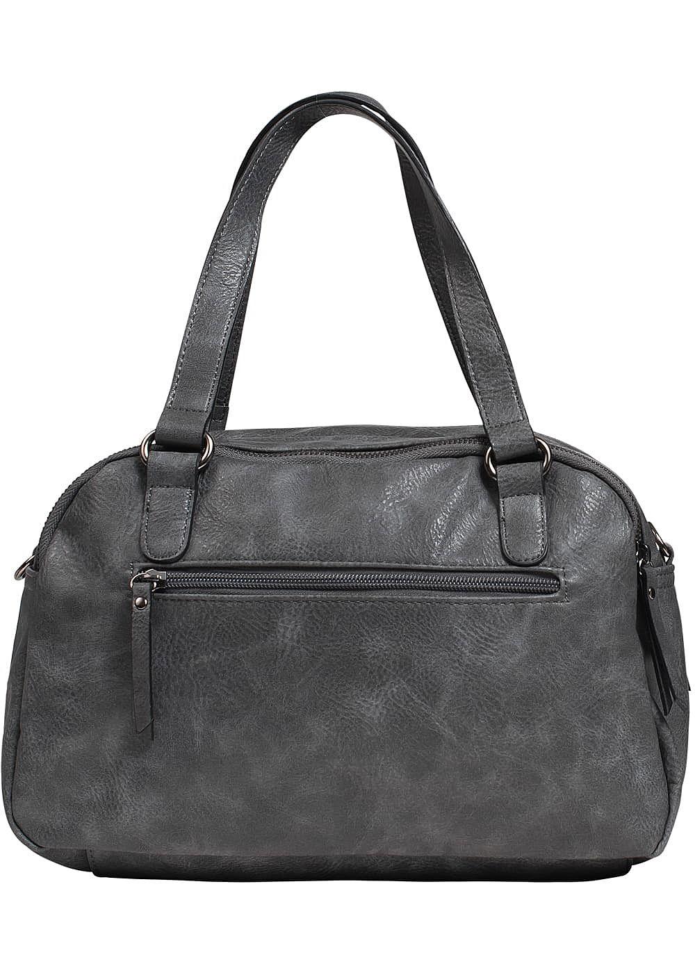 zabaione damen kunstleder handtasche 2 zip taschen grau silber 77onlineshop. Black Bedroom Furniture Sets. Home Design Ideas