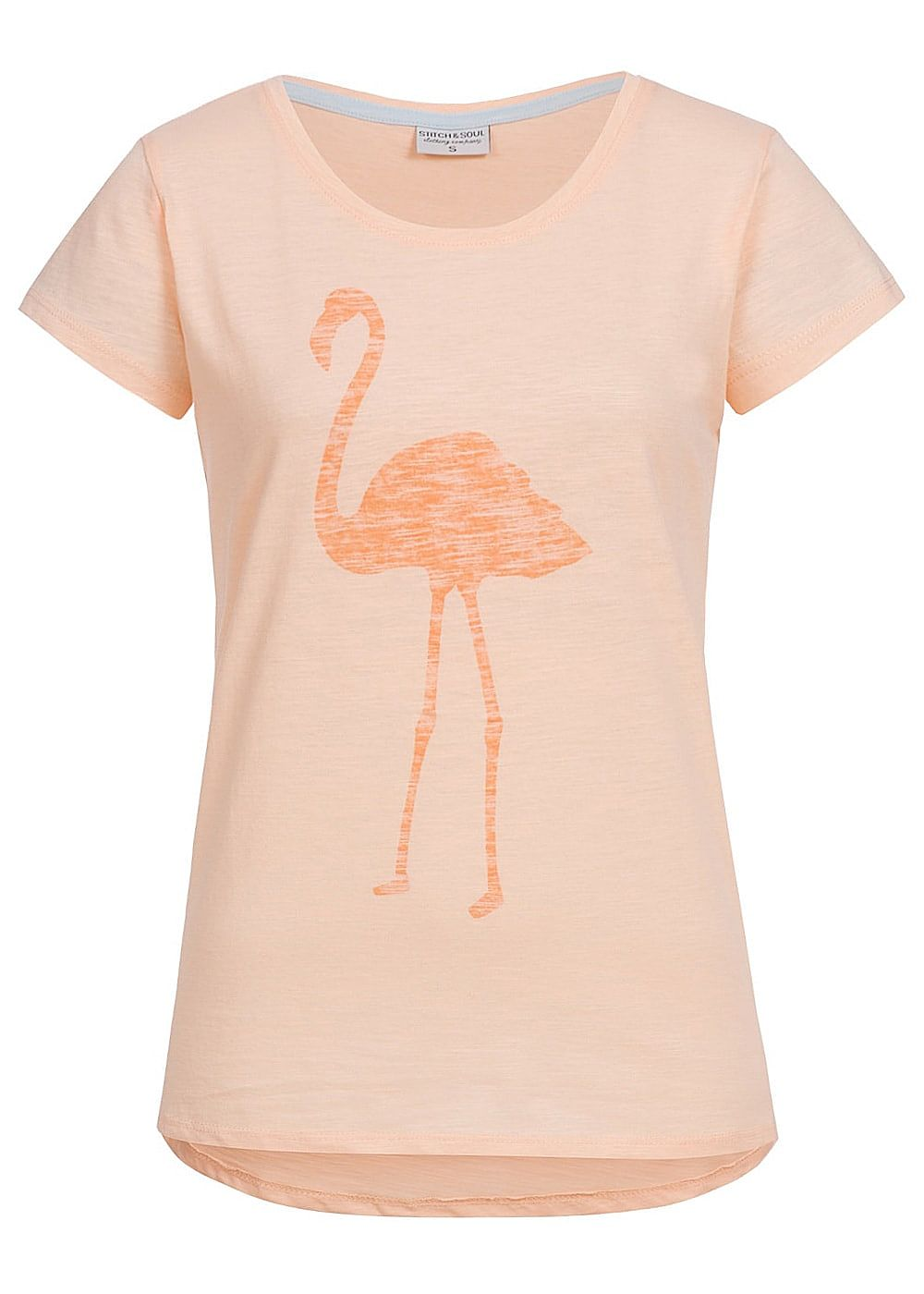 eight2nine damen t shirt flamingo print vokuhila by stitch and soul pastel orange 77onlineshop. Black Bedroom Furniture Sets. Home Design Ideas