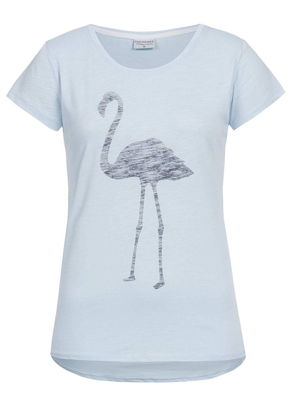 eight2nine damen t shirt flamingo print vokuhila by stitch and soul hell blau 77onlineshop. Black Bedroom Furniture Sets. Home Design Ideas
