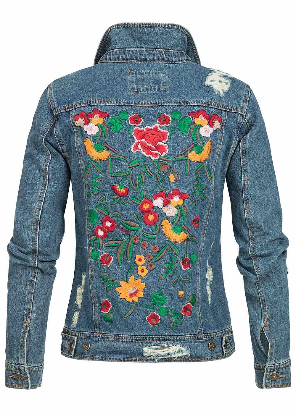 only damen jeans jacke destroy look 2 brusttaschen medium blue denim 77onlineshop. Black Bedroom Furniture Sets. Home Design Ideas