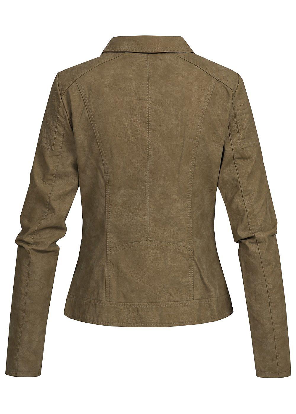 only damen biker kunstleder jacke 2 zip taschen 2 deko zipper vorne military olive 77onlineshop. Black Bedroom Furniture Sets. Home Design Ideas