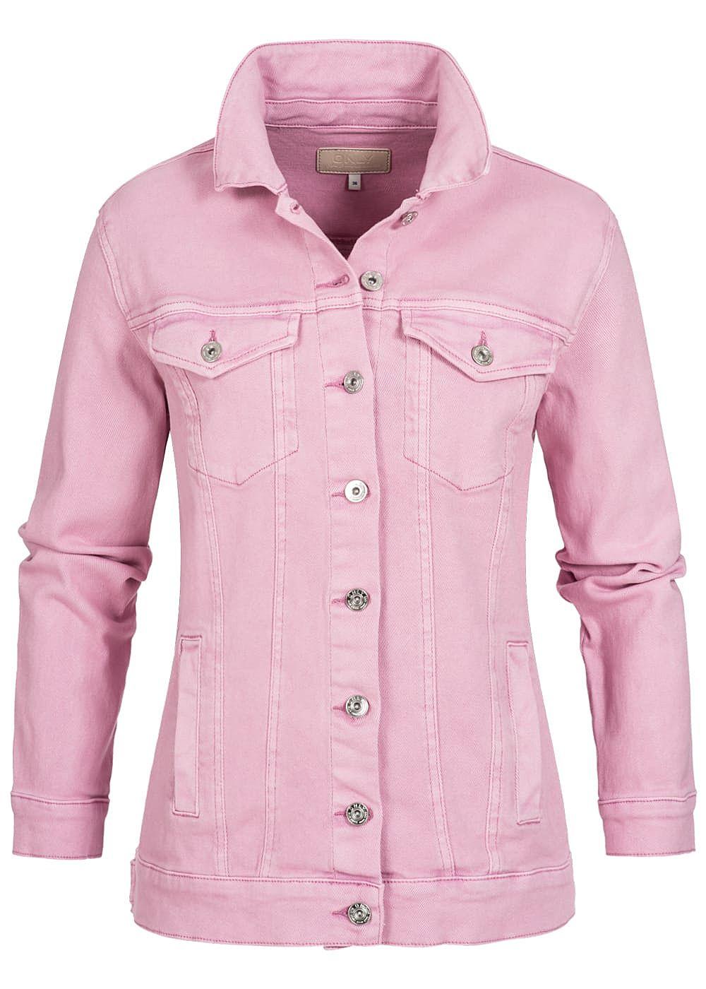 only damen oversize jeansjacke 2 brusttaschen 2 deko taschen begonia pink 77onlineshop. Black Bedroom Furniture Sets. Home Design Ideas