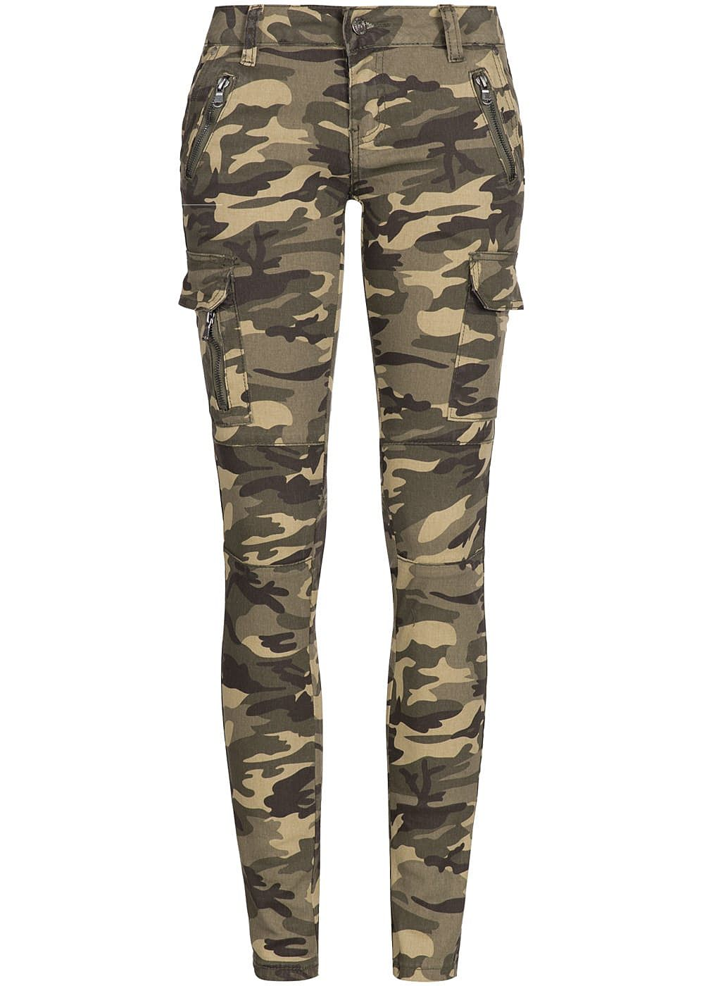seventyseven lifestyle damen cargo jeans hose 6 pockets 2 deko zipper camouflage 77onlineshop. Black Bedroom Furniture Sets. Home Design Ideas