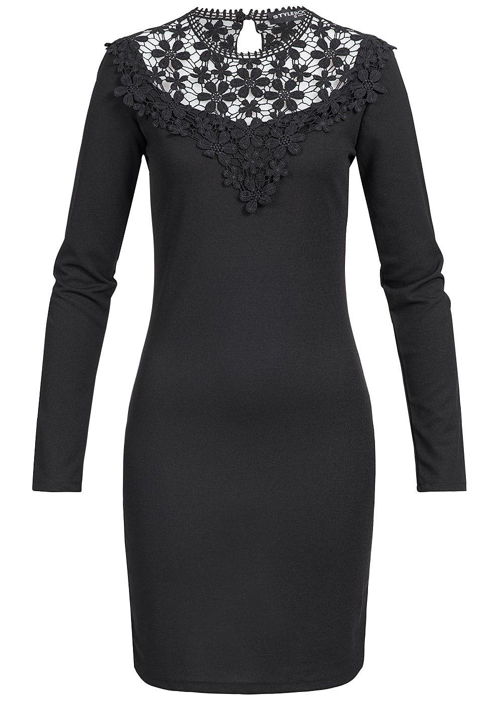 styleboom fashion damen mini kleid langarm spitze schwarz. Black Bedroom Furniture Sets. Home Design Ideas