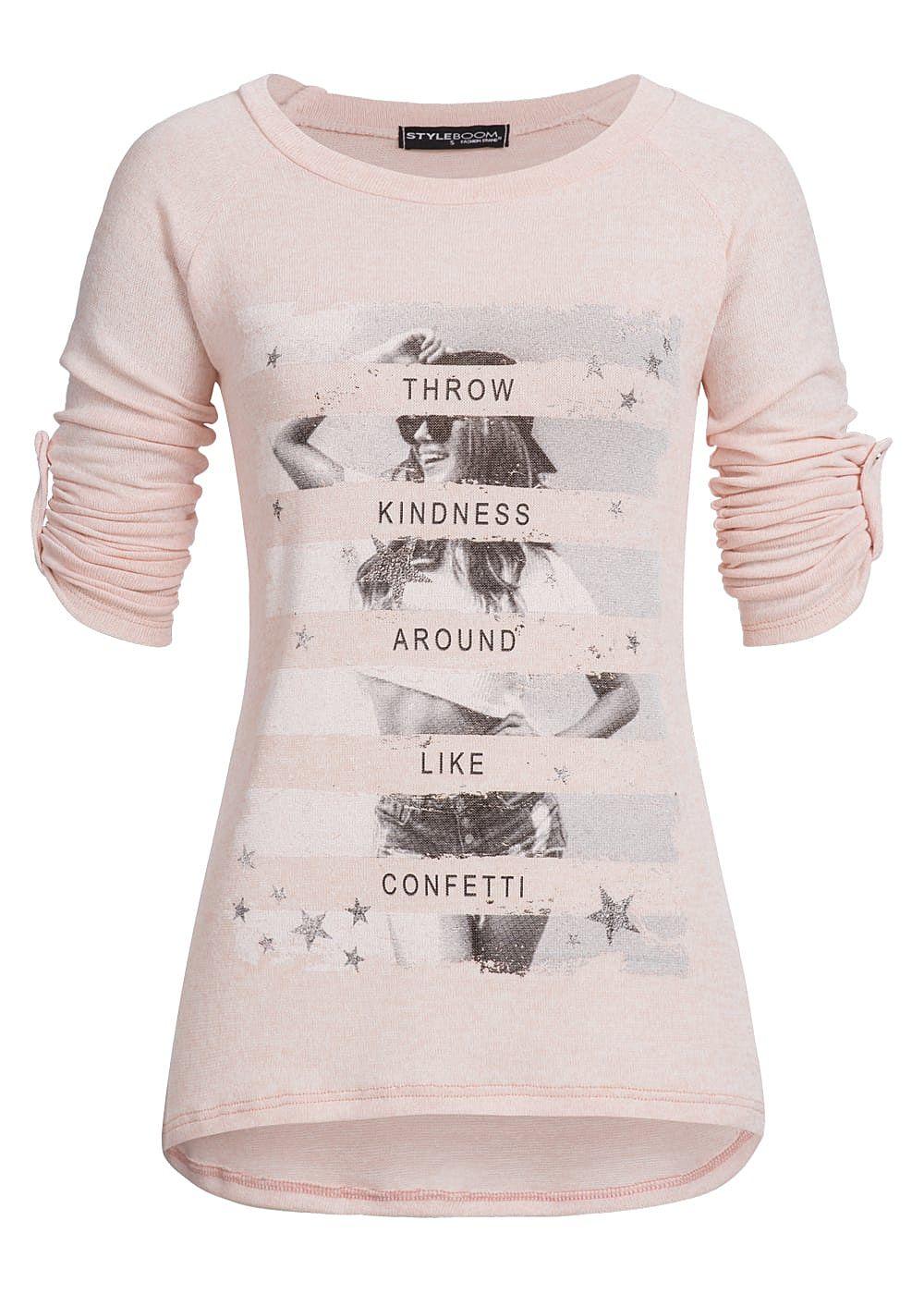styleboom fashion damen turn up shirt front print vokuhila rosa grau 77onlineshop. Black Bedroom Furniture Sets. Home Design Ideas