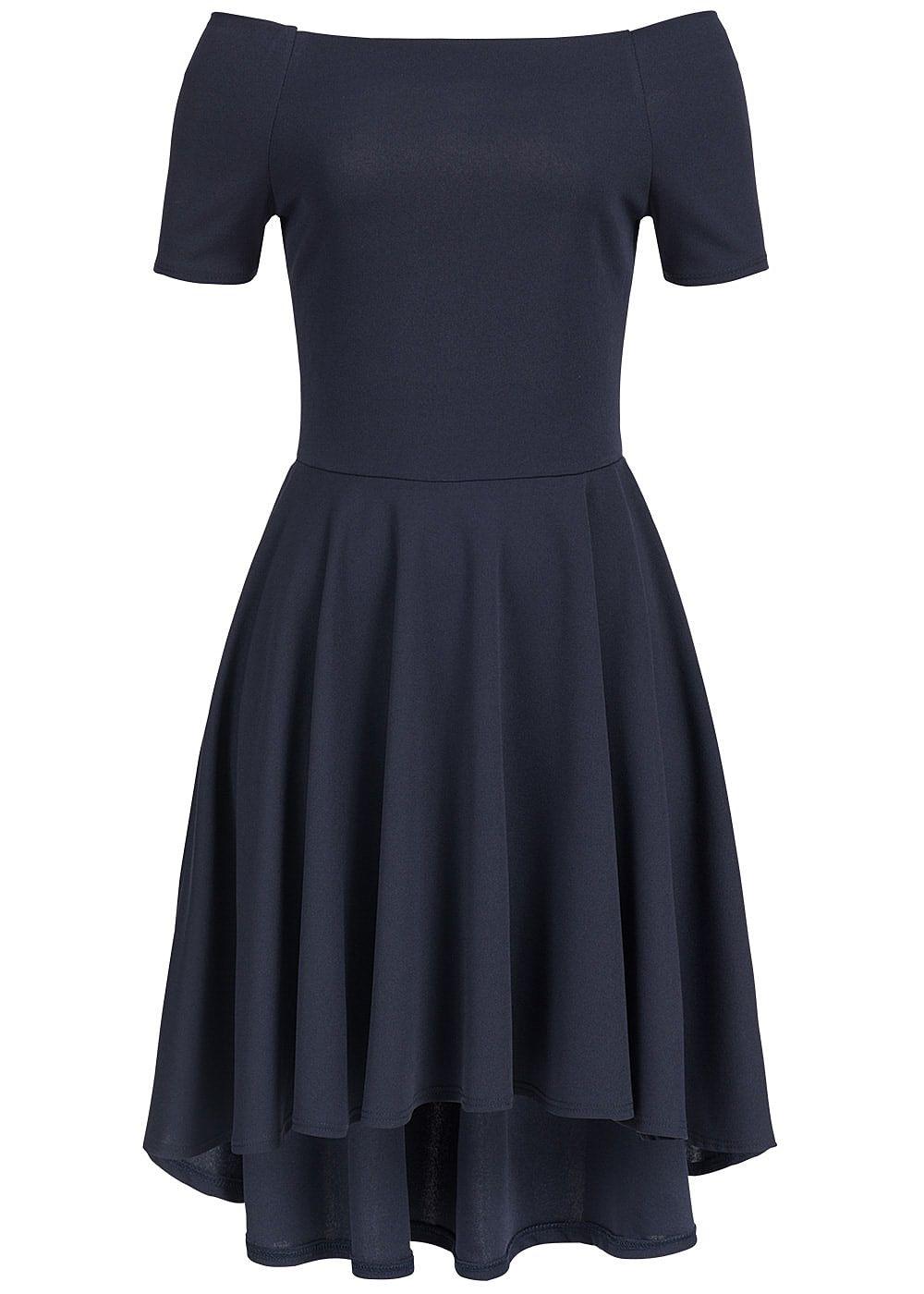 styleboom fashion damen kleid off shoulder vokuhila navy blau 77onlineshop. Black Bedroom Furniture Sets. Home Design Ideas