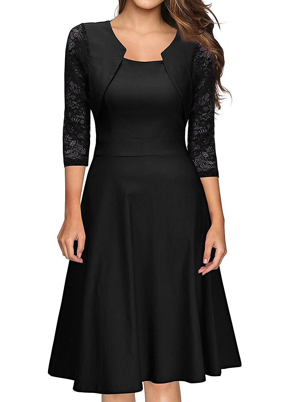 styleboom fashion damen mini kleid 3 4 arm mit spitze schwarz 77onlineshop. Black Bedroom Furniture Sets. Home Design Ideas