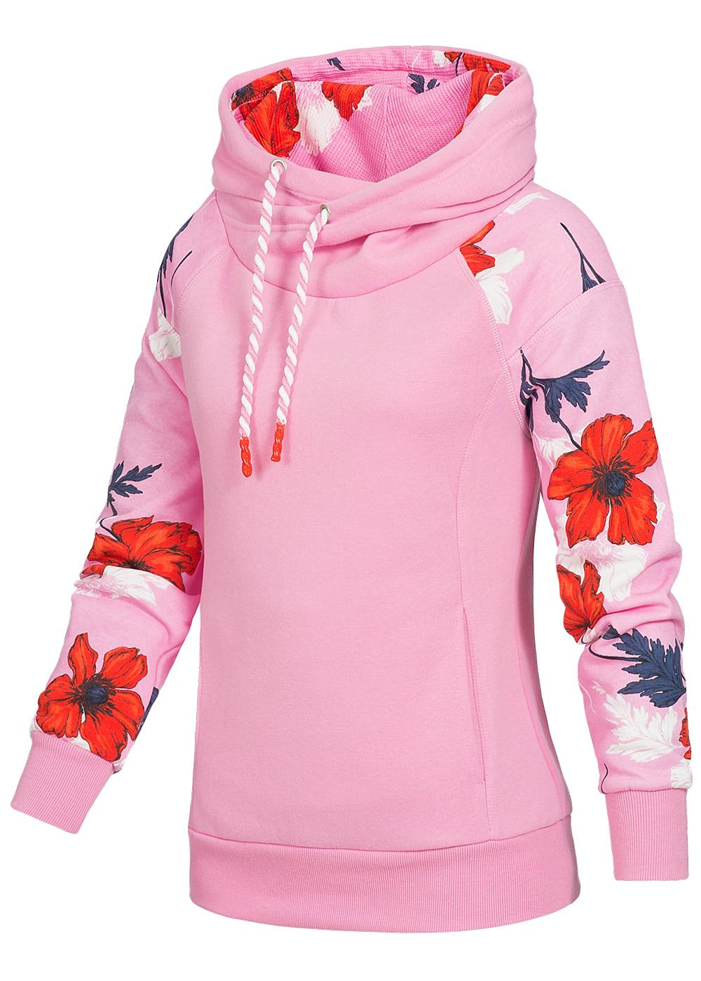 only damen hoodie berlappende kapuze blumen print am arm k ngurutasche begonia pink 77onlineshop. Black Bedroom Furniture Sets. Home Design Ideas