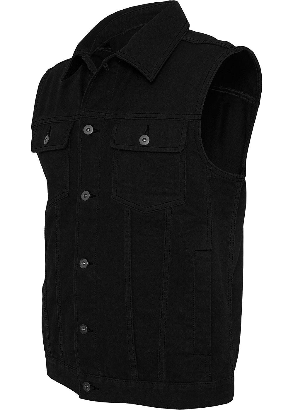 seventyseven lifestyle men jeansweste mit knopfleiste brusttaschen kragen schwarz 77onlineshop. Black Bedroom Furniture Sets. Home Design Ideas