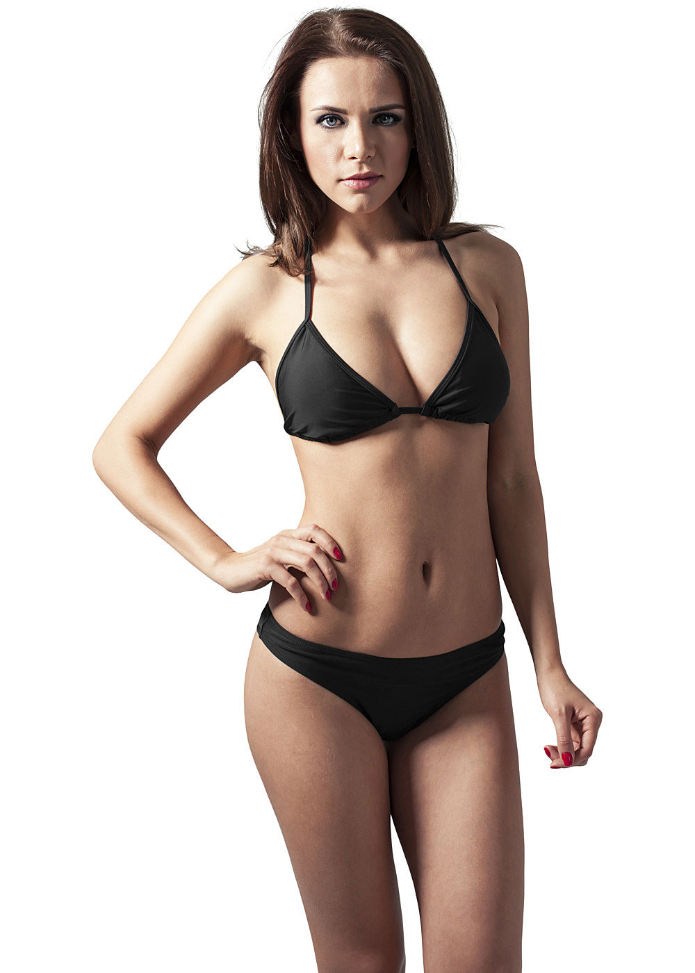 seventyseven lifestyle damen triangel bikini unifarben schwarz 77onlineshop. Black Bedroom Furniture Sets. Home Design Ideas