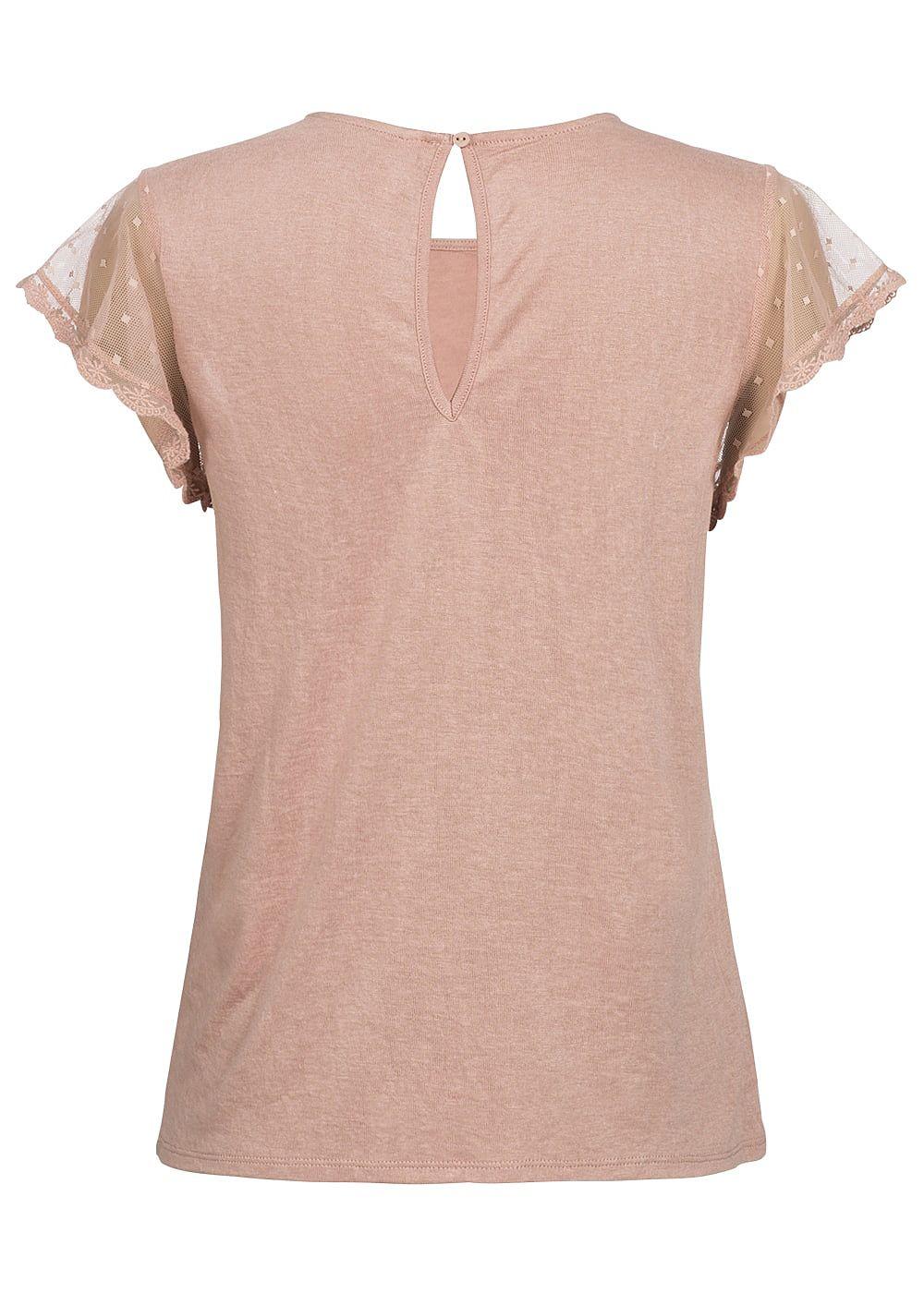 only damen t shirt mit spitzen rmel misty rosa 77onlineshop. Black Bedroom Furniture Sets. Home Design Ideas