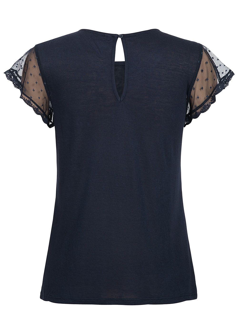 only damen t shirt mit spitzen rmel night sky blau 77onlineshop. Black Bedroom Furniture Sets. Home Design Ideas