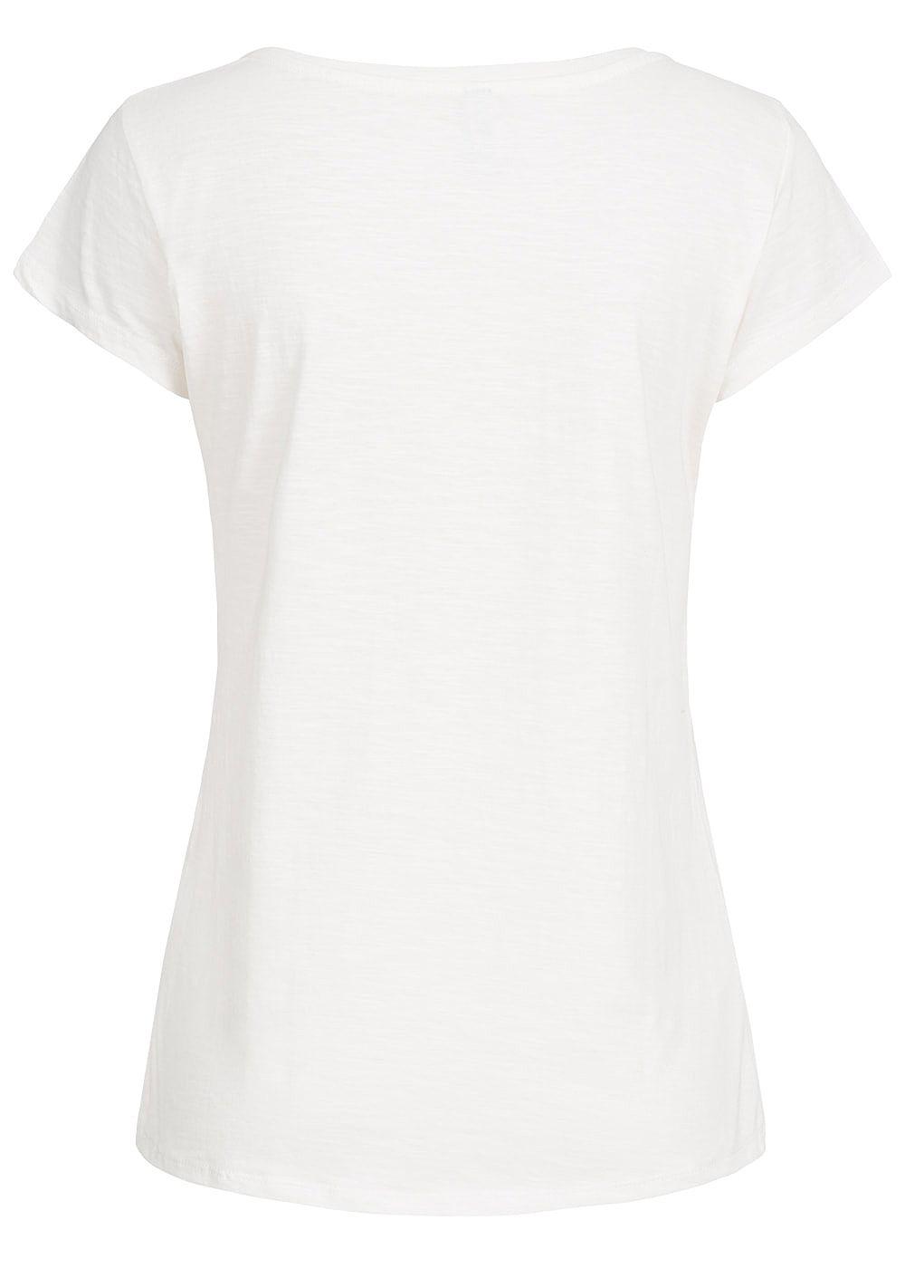Hailys damen t shirt flaminigo print mit pailletten off for T shirt printing one off