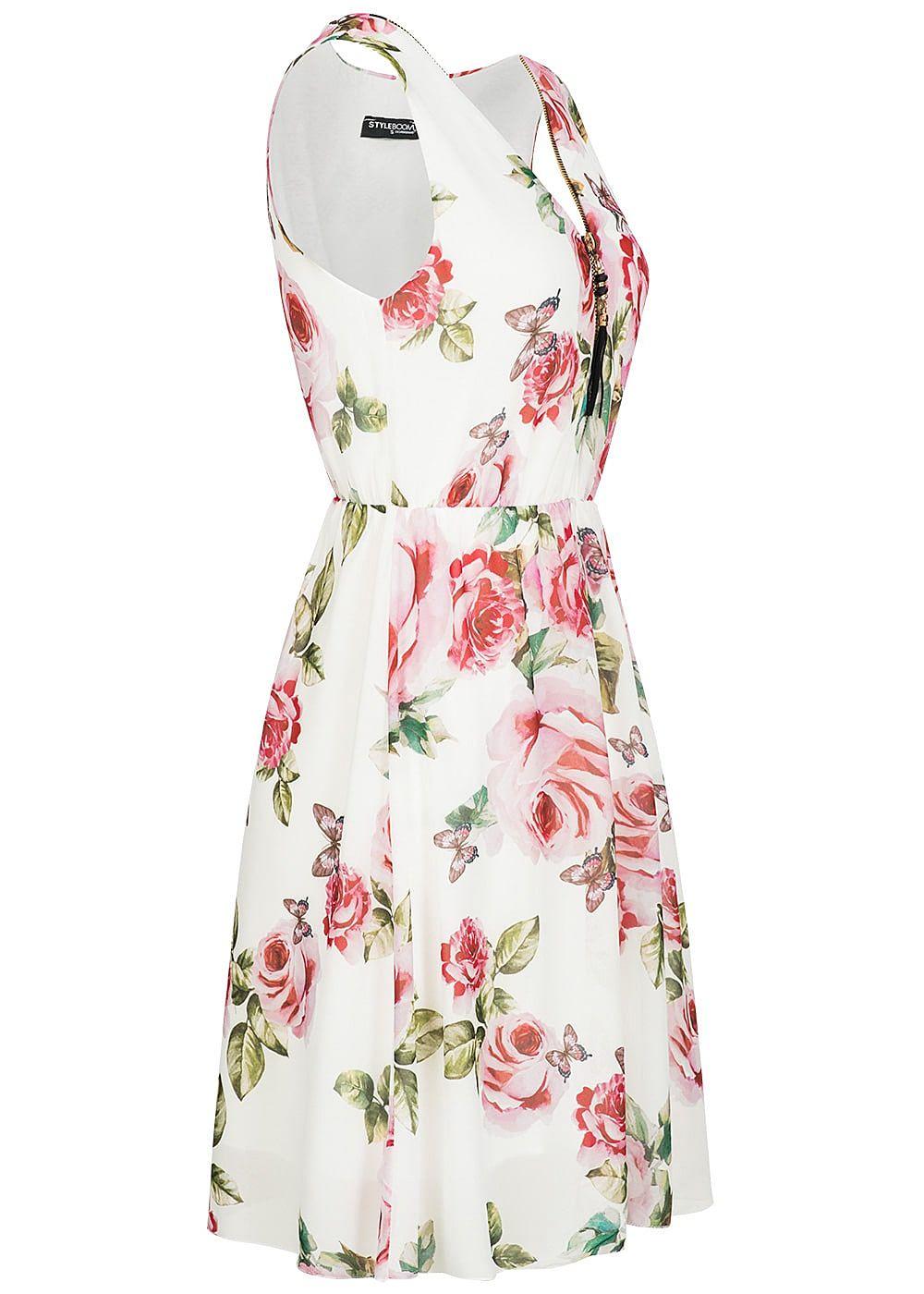 styleboom fashion damen kleid rosen print zipper vorne weiss rosa gr n 77onlineshop. Black Bedroom Furniture Sets. Home Design Ideas