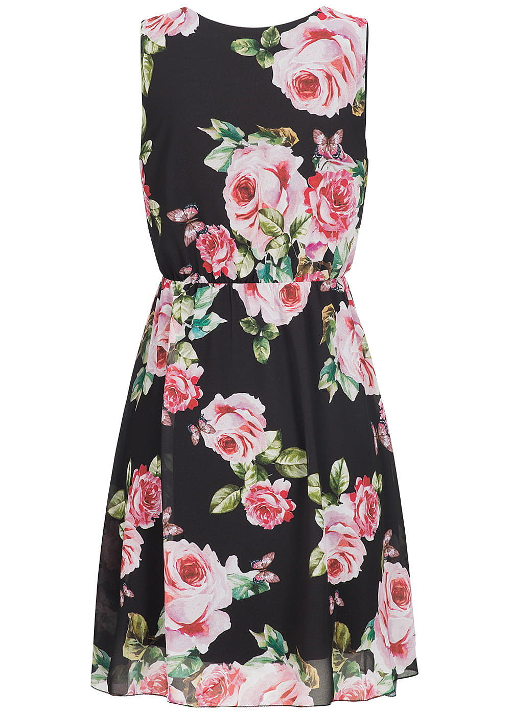 styleboom fashion damen kleid rosen print zipper vorne schwarz rosa gr n 77onlineshop. Black Bedroom Furniture Sets. Home Design Ideas