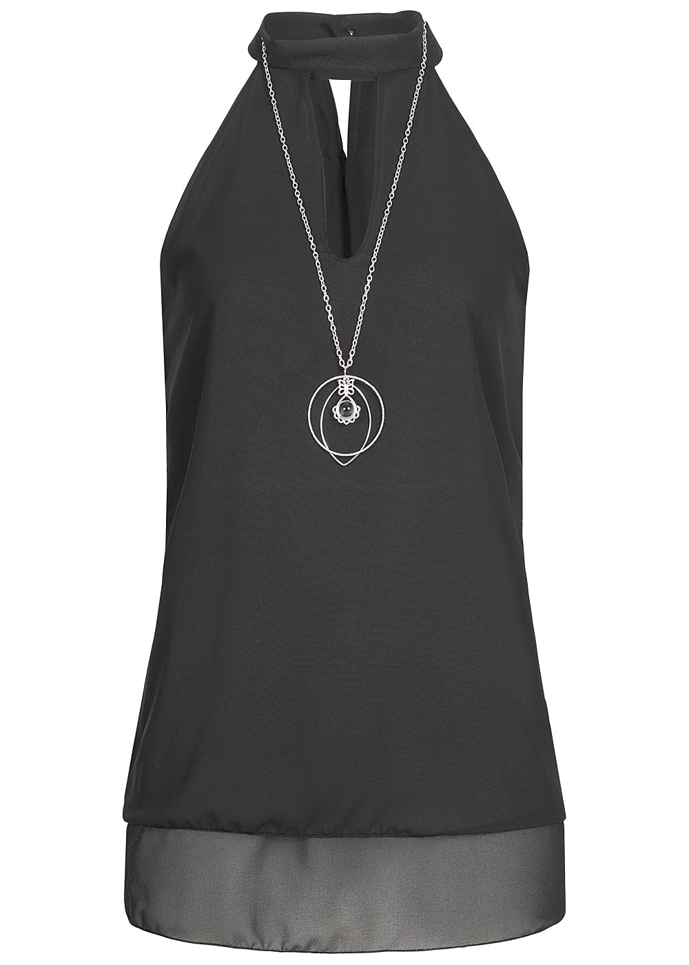 styleboom fashion damen chiffon top 2 lagig mit kette neckholder schwarz 77onlineshop. Black Bedroom Furniture Sets. Home Design Ideas