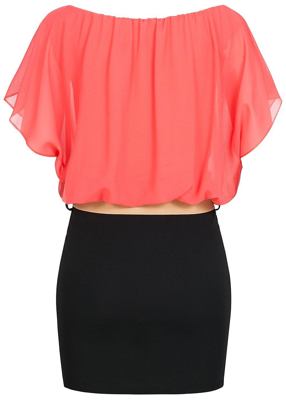 styleboom fashion damen chiffon kleid volant rmel mit g rtel coral pink schwarz 77onlineshop. Black Bedroom Furniture Sets. Home Design Ideas