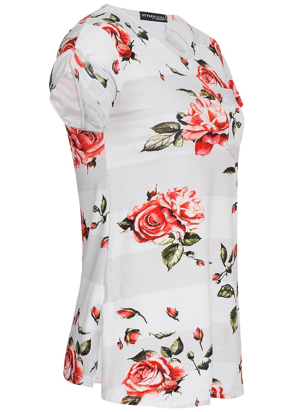 styleboom fashion damen t shirt brusttasche rosen print. Black Bedroom Furniture Sets. Home Design Ideas