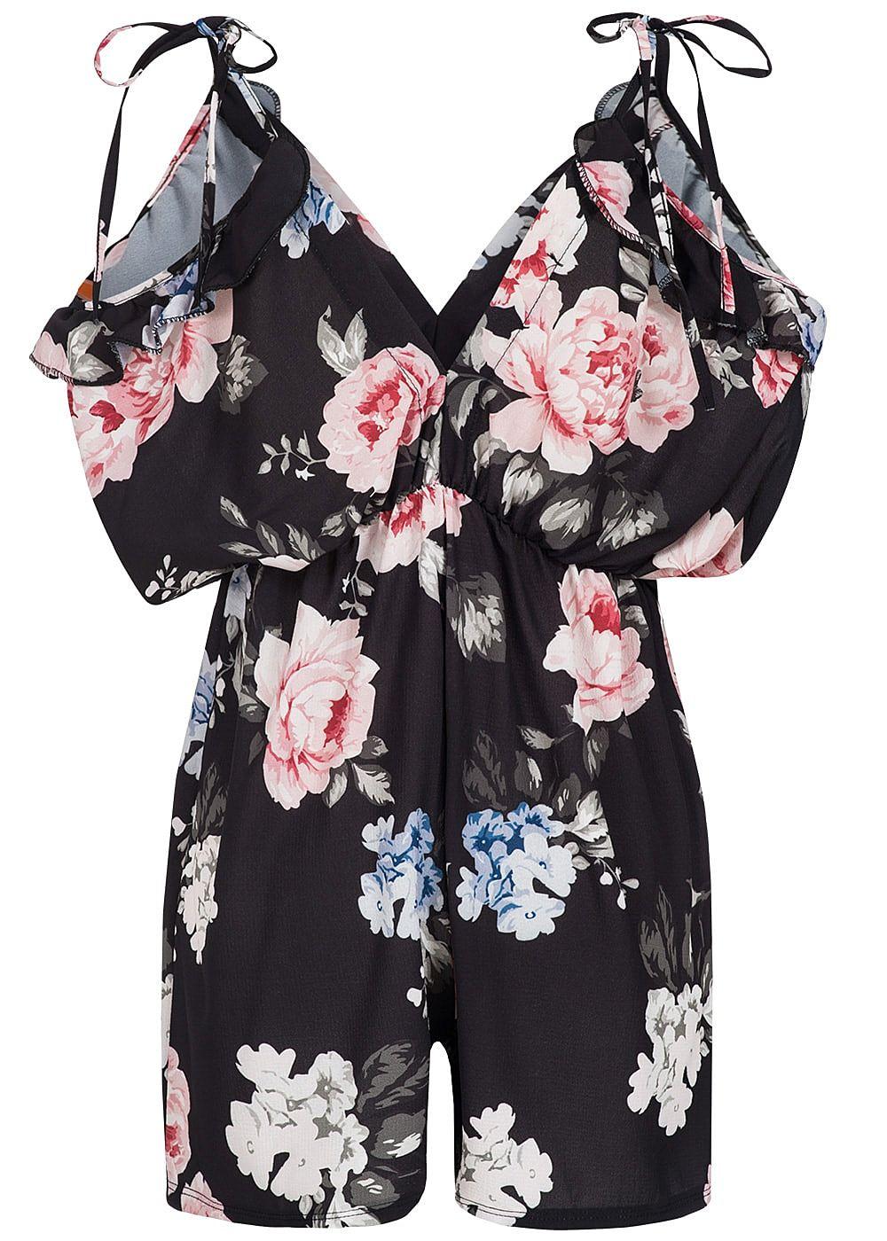 styleboom fashion damen sommer kurz jumpsuit blumen print. Black Bedroom Furniture Sets. Home Design Ideas