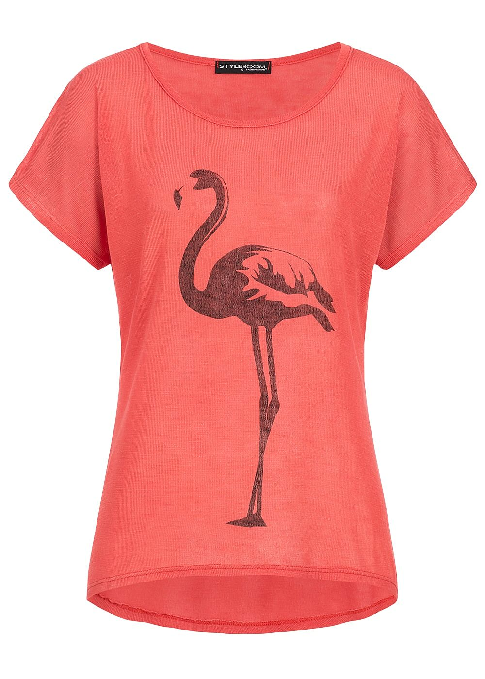 styleboom fashion damen t shirt flamingo print coral rot schwarz 77onlineshop. Black Bedroom Furniture Sets. Home Design Ideas