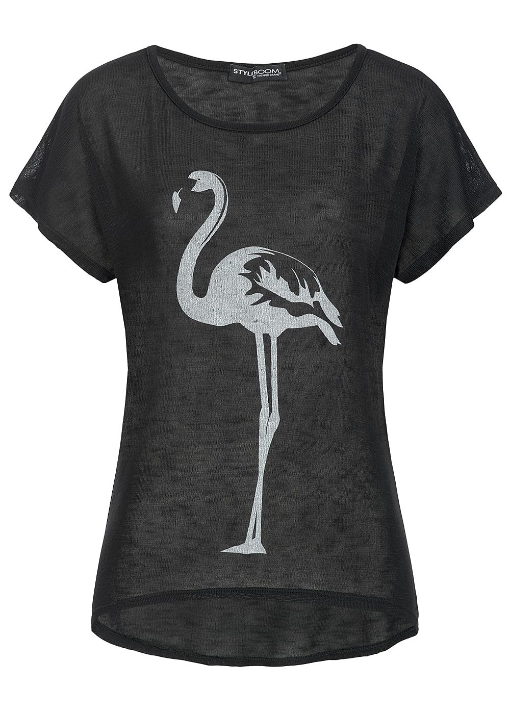 styleboom fashion damen t shirt flamingo print schwarz weiss 77onlineshop. Black Bedroom Furniture Sets. Home Design Ideas