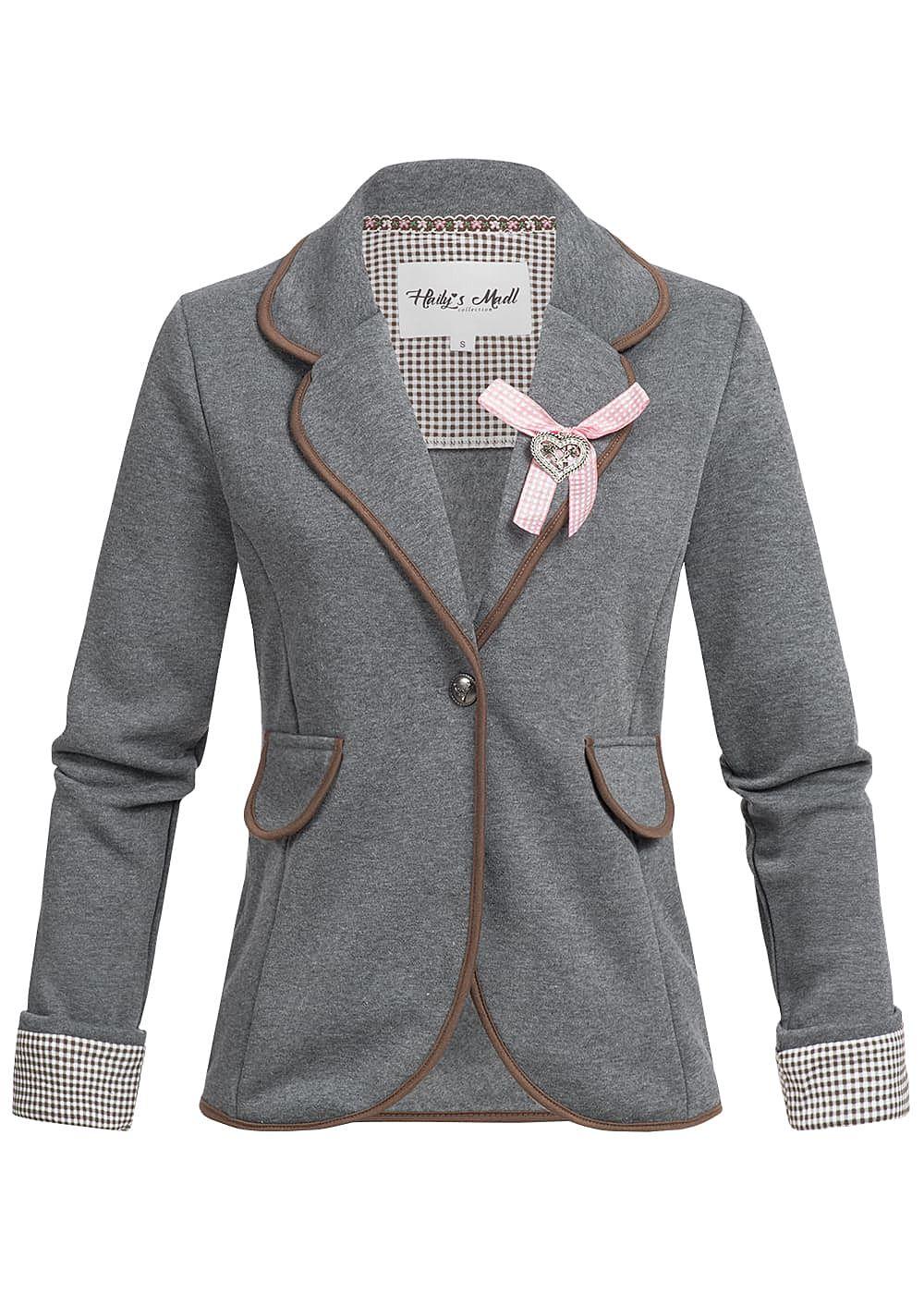 hailys damen blazer 2 deko taschen hirschkopf hinten strasssteine grau braun 77onlineshop. Black Bedroom Furniture Sets. Home Design Ideas