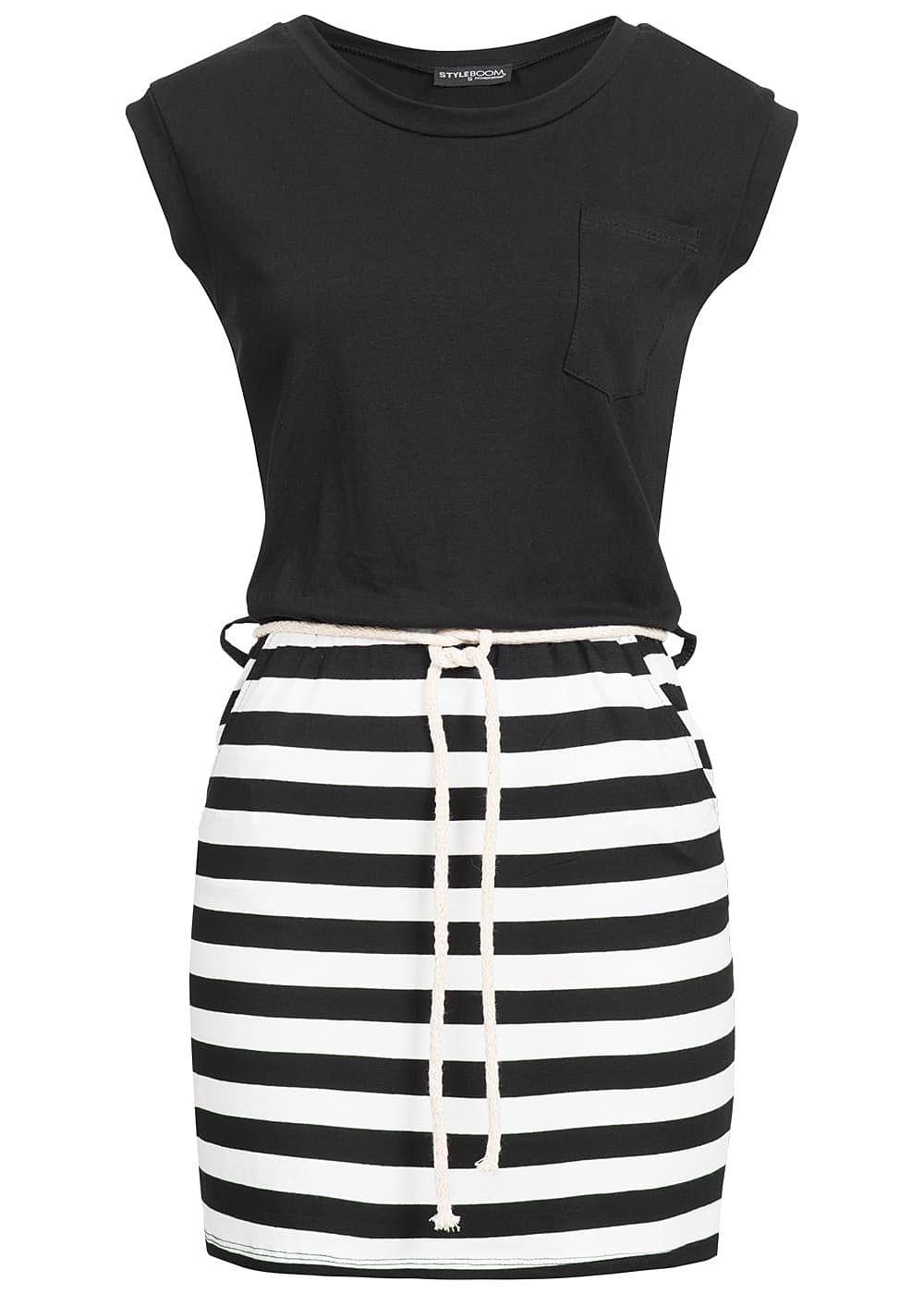 Styleboom Fashion Damen Mini Kleid Streifen Kordelgürtel 2 ...