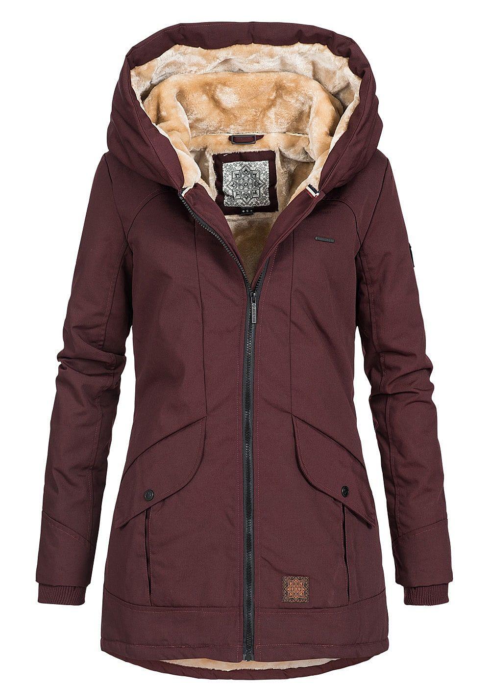 new style 50039 d3ec1 Aiki Damen Winter Parka Jacke Kunstfellfutter 2 Taschen bordeaux rot