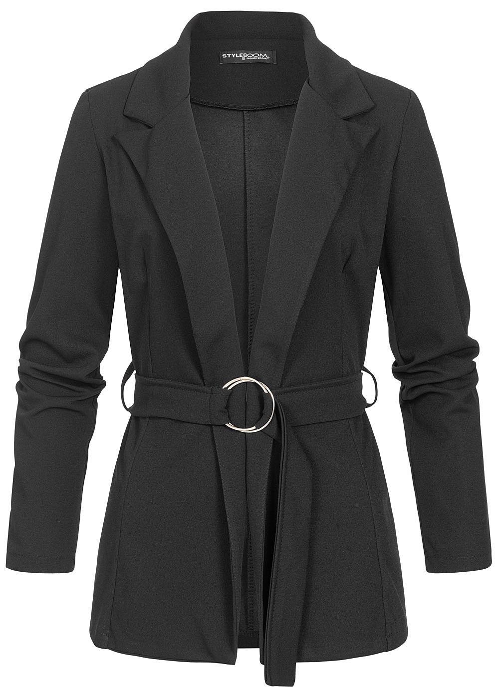 Styleboom Fashion Damen Blazer mit Bindegürtel schwarz