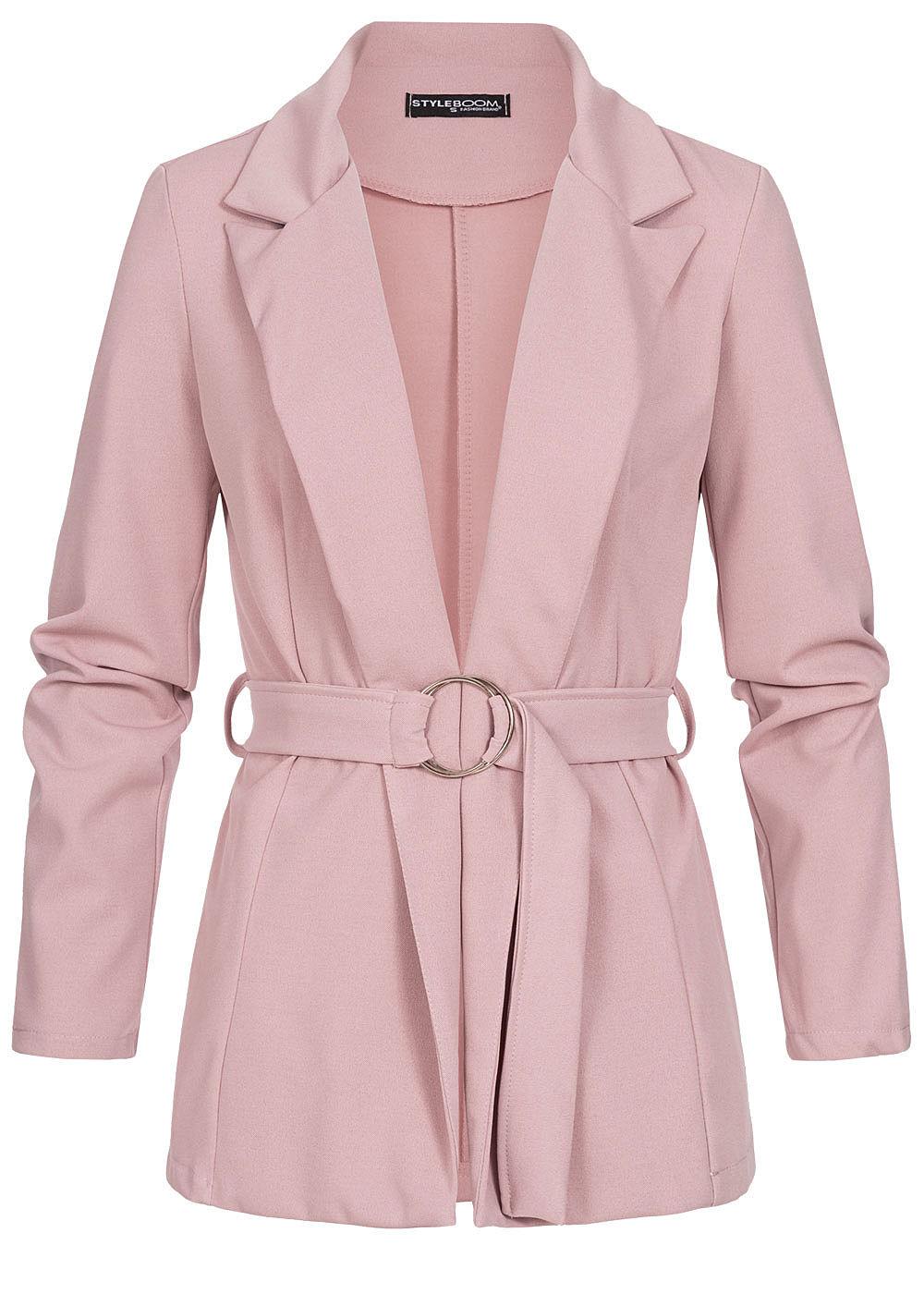 Styleboom Fashion Damen Blazer mit Bindegürtel old rosa