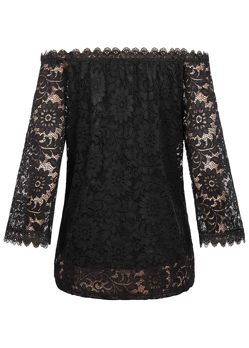 Styleboom Fashion Damen Off Shoulder Spitzen Bluse 2 lagig schwarz
