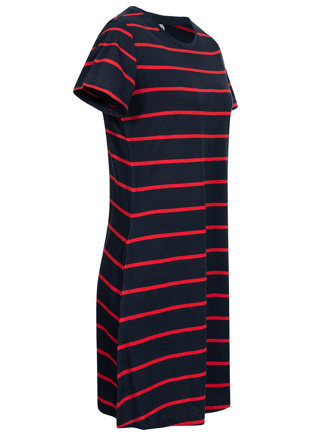 ONLY Damen Basic Jersey Kleid 2-Pockets Streifen Muster ...