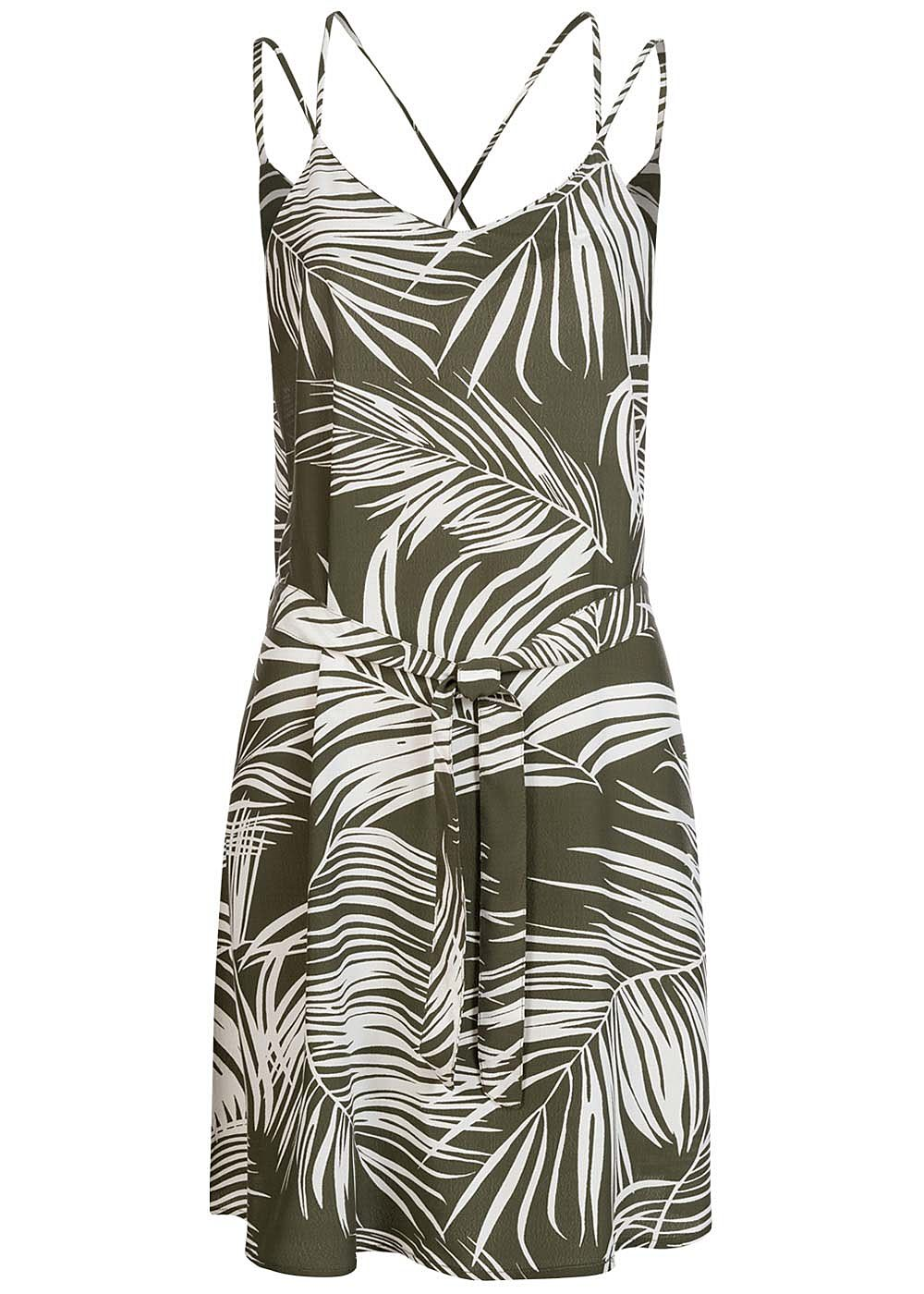 ONLY Damen V-Neck Mini Kleid inkl. Bindegürtel Tropical Print kalamata oliv grün - Art.-Nr.: 20073643