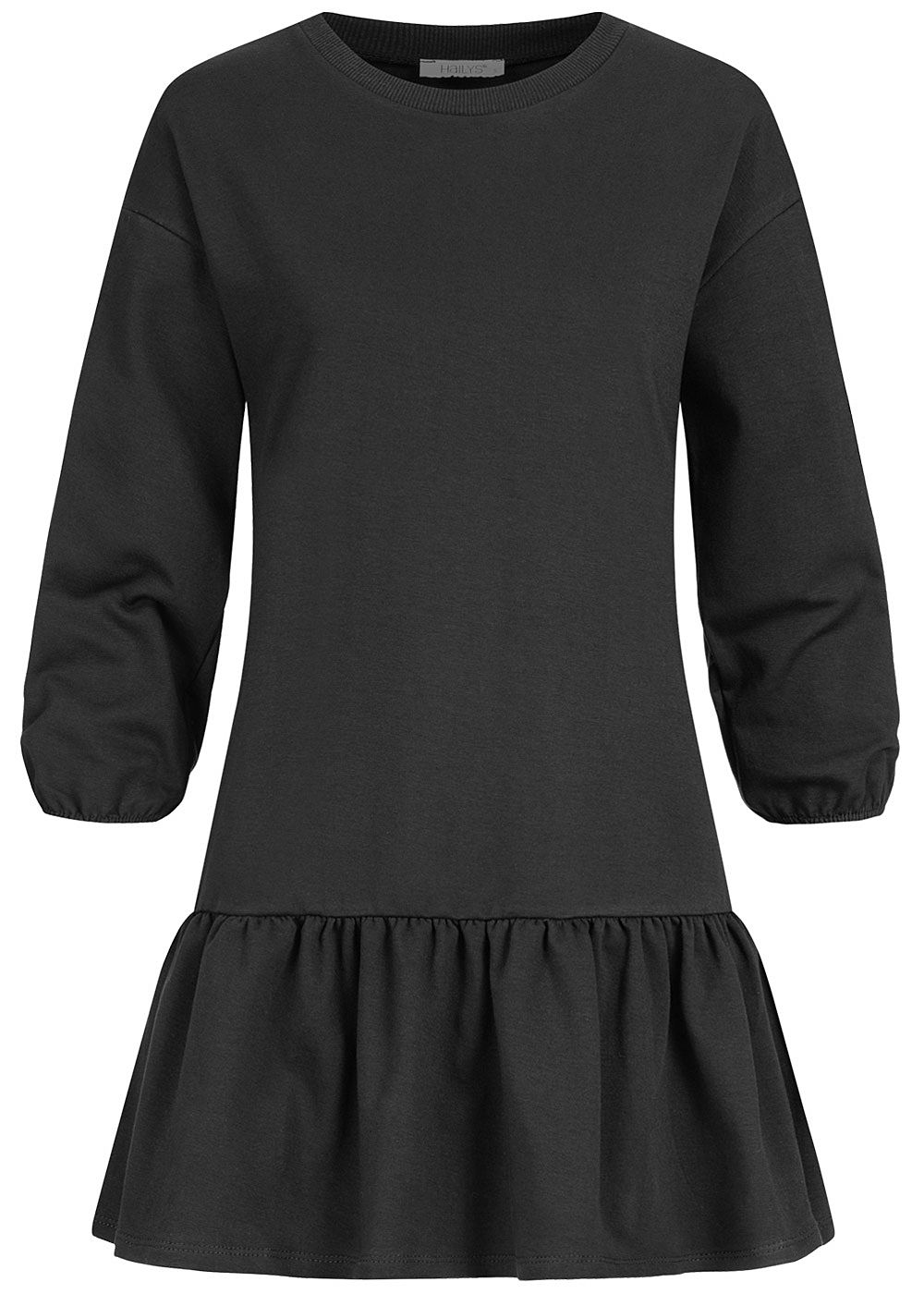 Hailys Damen 3/4 Arm Sweat Kleid Raffung am Saum schwarz - Art.-Nr.: 20084065