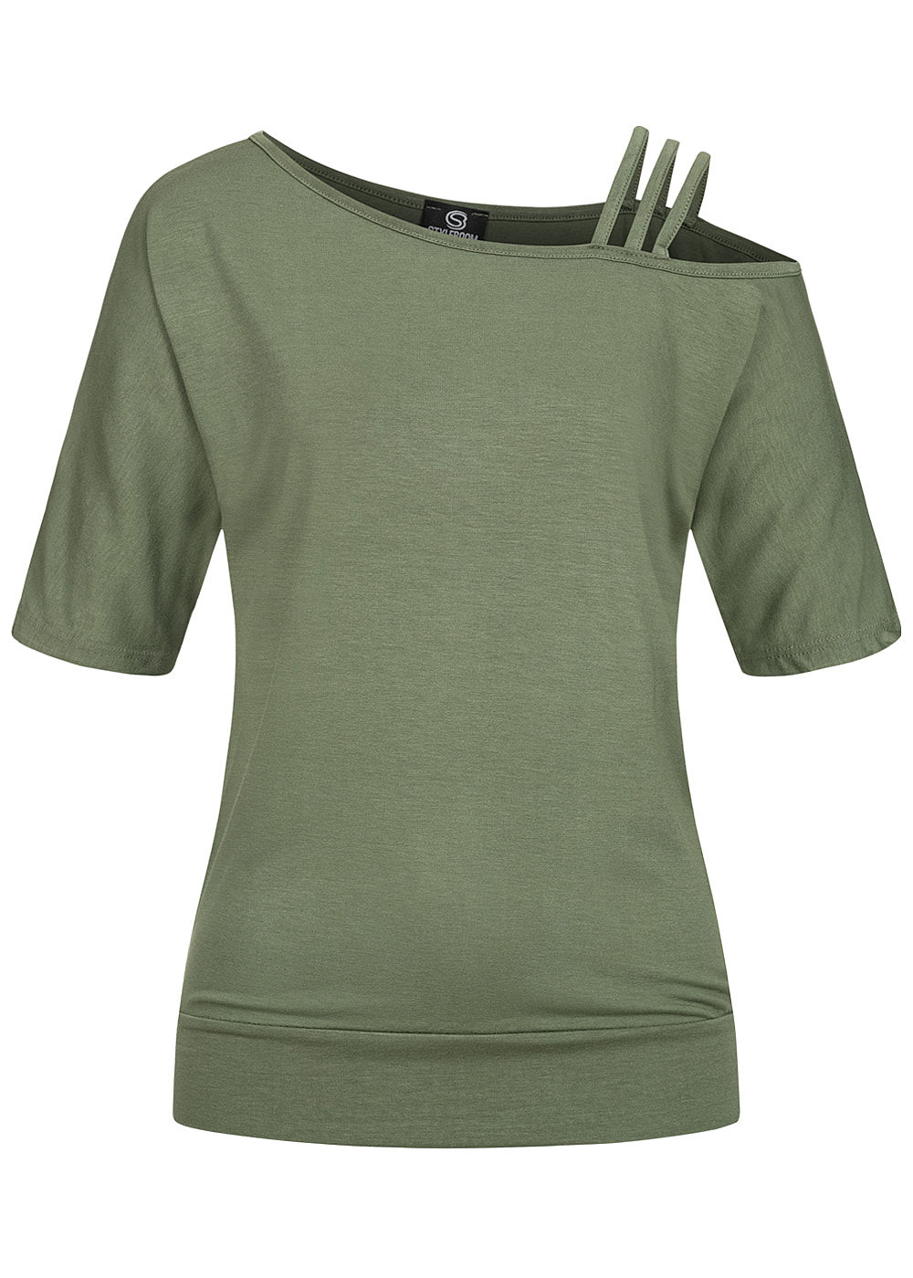 Styleboom Fashion Damen 1/2 Arm Cold Shoulder Shirt 3 Schulterträger oliv grün - Art.-Nr.: 20086381