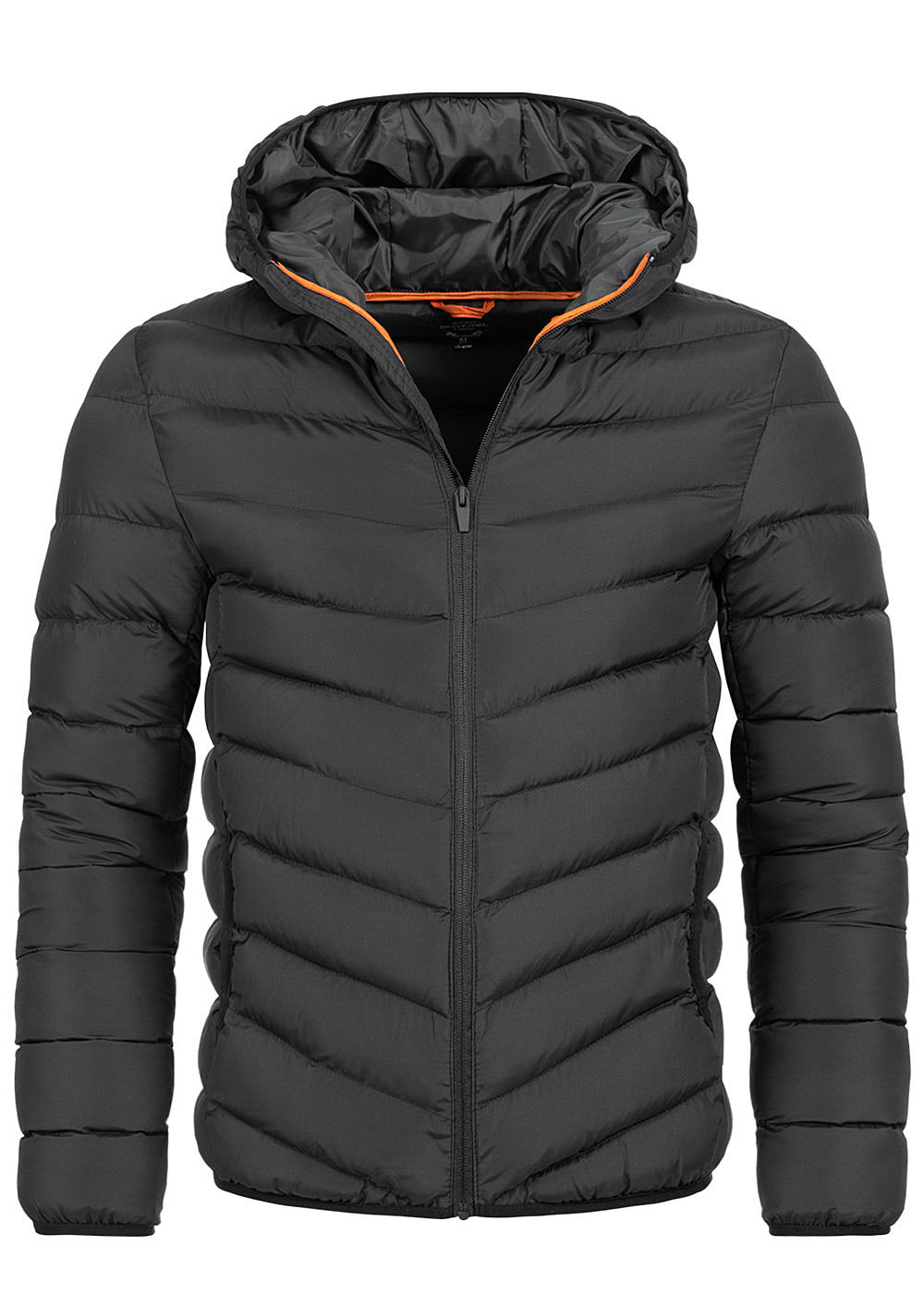 Brave Soul Herren Winter Steppjacke Kapuze 2-Pockets unicolor schwarz - Art.-Nr.: 20094331