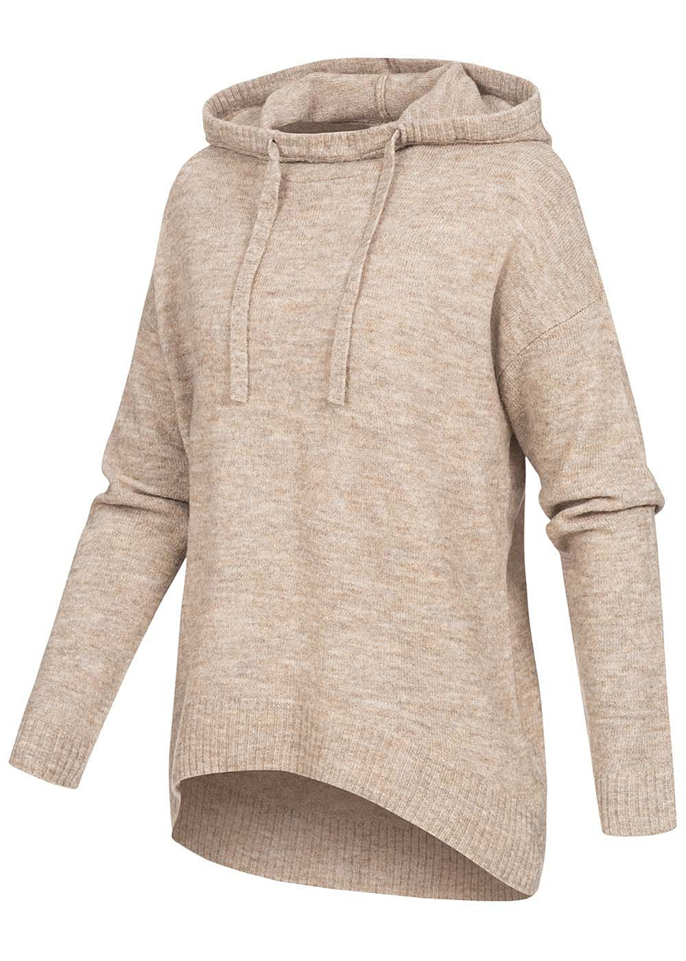 ONLY Damen Strick Hoodie Pullover mit Kapuze Tunnelzug Vokuhila toasted coconut beige - Art.-Nr.: 20094425