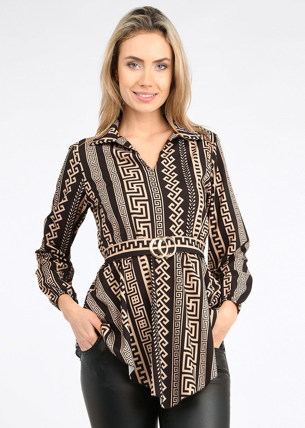 Styleboom Fashion Damen Turn Up Longform Bluse mit Schnalle