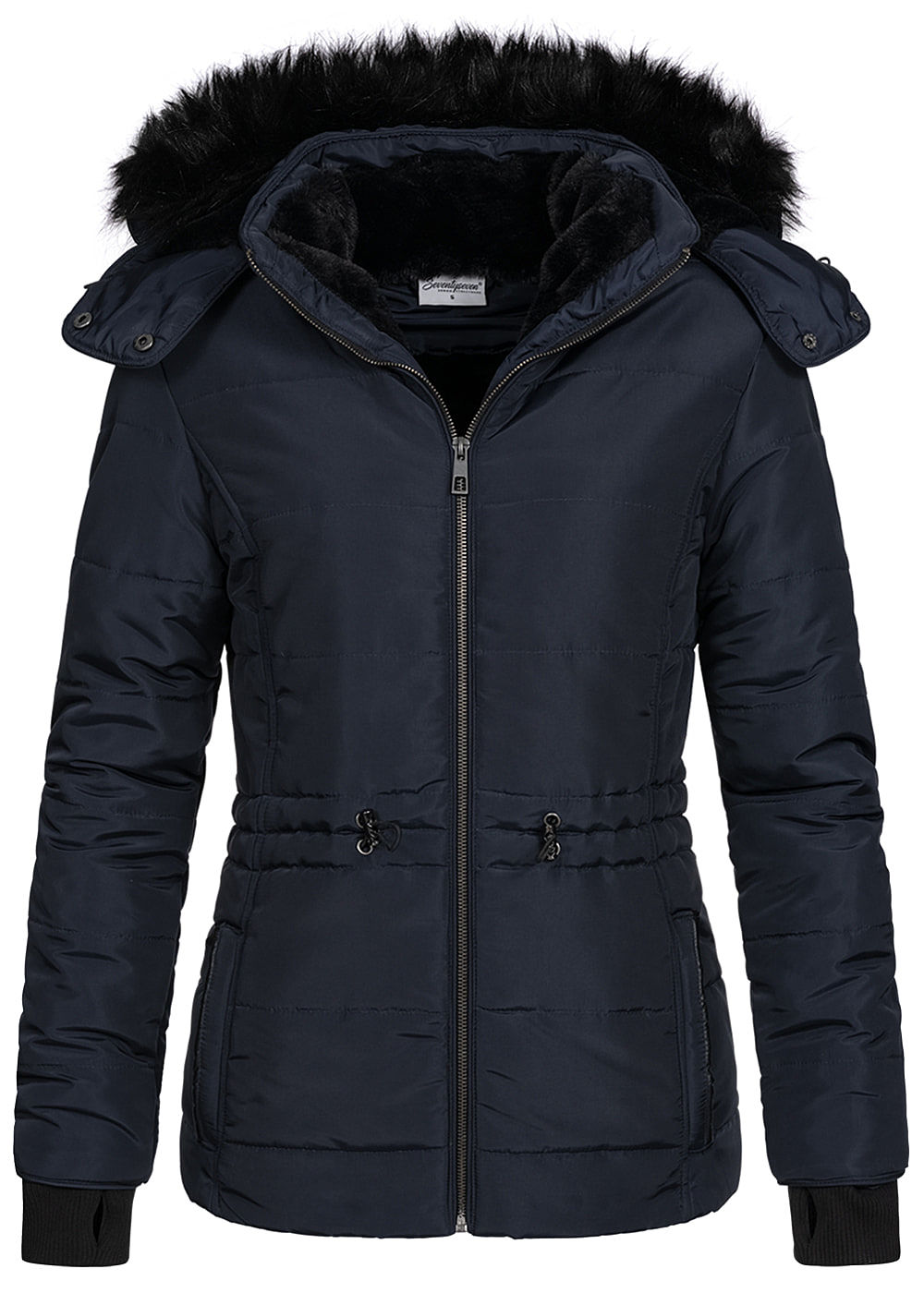 Seventyseven Lifestyle Damen Winter Steppjacke abnehmbare Kapuze 2-Pockets navy blau - Art.-Nr.: 20108149