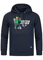 Jack and Jones Herren Sweat Hoodie Kapuze Kängurutasche Dog Print blazer navy blau