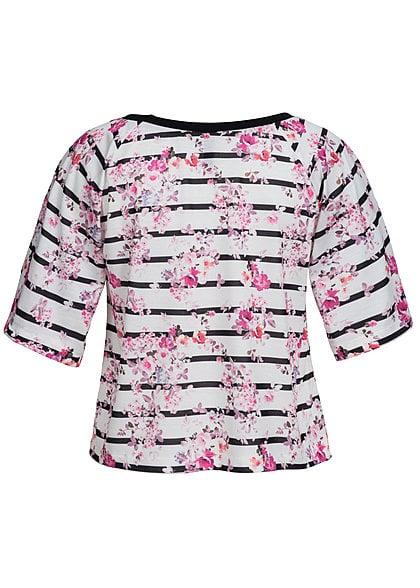 Madonna Shirt FINJA 40-8009 Streifen Blumen Muster lockerer Schnitt weiss pink