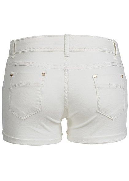 Madonna Damen Jeans Short RENISE 10-628-B mit Aufschlag 5-Pocket weiss