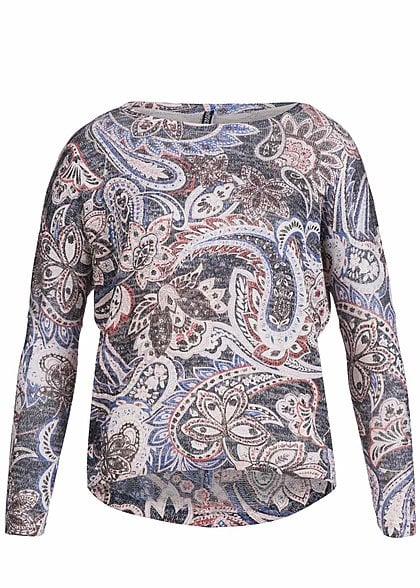 Hailys Damen Sweater LUCIA AM-0914134 Oversize Paisley Muster navy rot beige - Art.-Nr.: 15080017