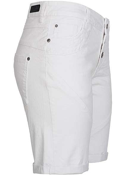 Eight2Nine Damen Bermuda Short 5-Pockets Loose Fit 3 Knöpfe by Fresh Made weiss