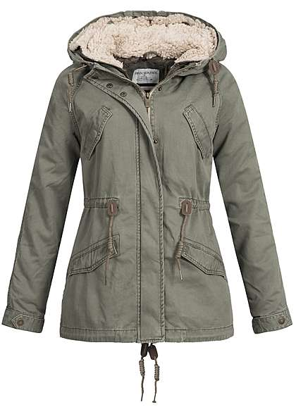 Eight2Nine Damen Parka Kapuze Teddyfutter abnehmb 4 Taschen by Urban Surface dusty olive