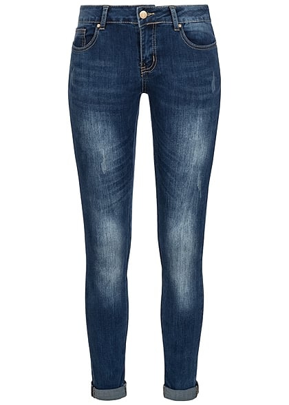 Seventyseven Lifestyle Hose Damen Skinny Jeans 5-Pockets Umschlag medium blau denim