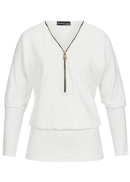 M · L · XL · Styleboom Fashion Damen Longform Fledermaus Shirt Zipper  breiter Bund off weiss fa67c871fe
