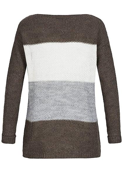 Styleboom Fashion Damen Strick Sweater gestreift lockerer Schnitt dunkel braun off weiss